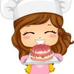 20040500-Illustration-of-Cute-Little-Girl-Baking-a-Cake-Stock-Illustration-girl-cartoon-baker